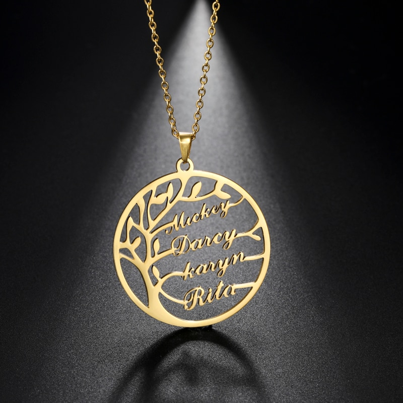 Sipuris Custom Name Necklace Tree Of Life Stainless Steel Family Tree Necklace For Women Personalized Letter Jewelry Family Gift недорого