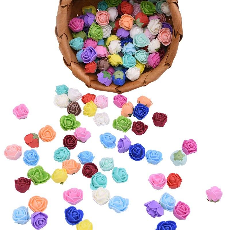 50/100/200 stücke 2cm Mini Künstliche Schaum Rose Blume Köpfe Gefälschte Blumen Für Hochzeit Party Deco liefert DIY Handgemachte Kranz Handwerk