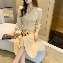 Autumn And Winter 2021 New Cool Beautiful Elegant Knitted Dress Women's Waist-Tight Match With Coat
