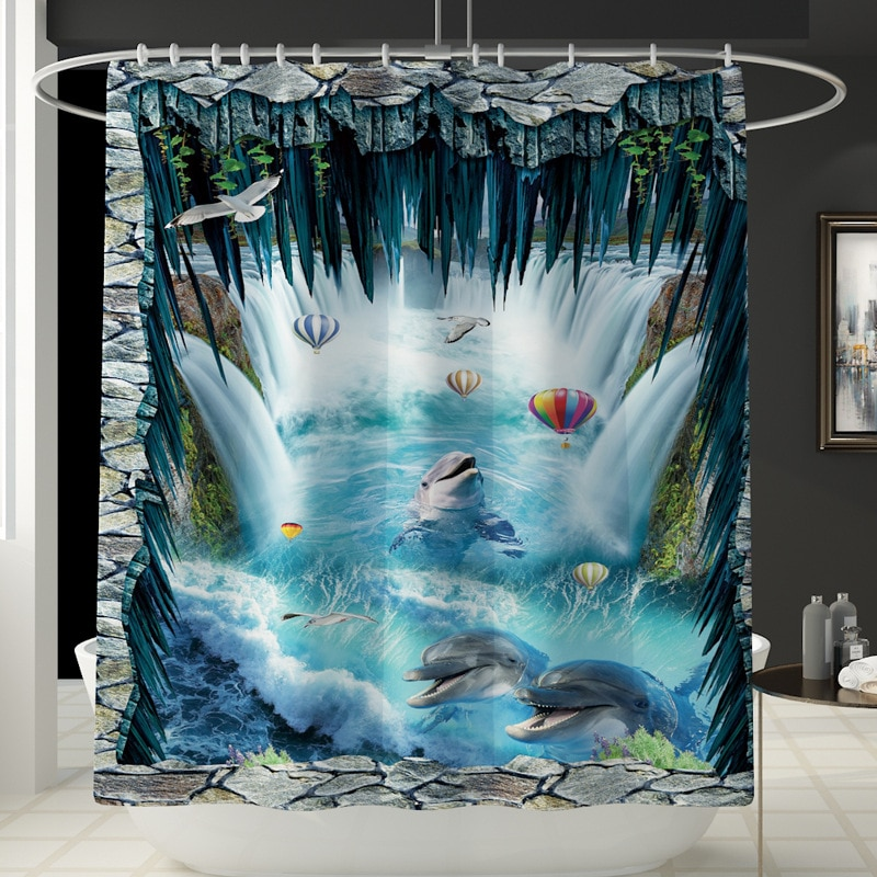 New Printed Ocean Dolphin Bathroom Carpet 4-piece Ocean World Toilet Mat Set Bathroom Anti Slip Mat Shower Curtain enlarge