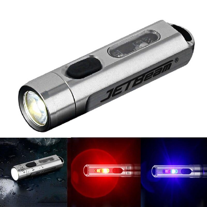 JETBEAM MINI 500LM 5-Colores Multi-propósito EDC linterna con luz UV Color RGB tipo-C de carga rápida linterna LED linterna