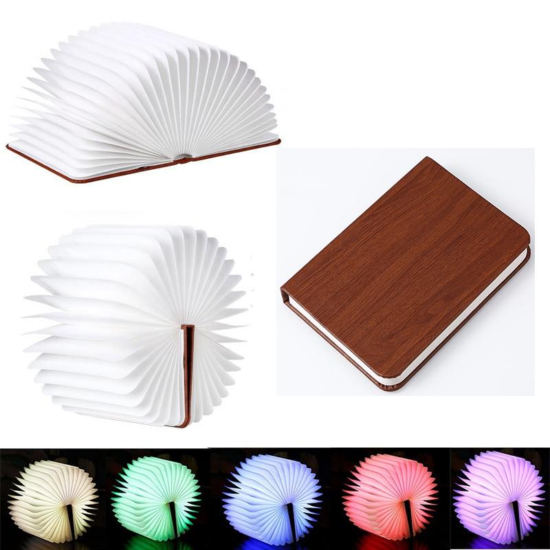 Luz Nocturna recargable por USB, 5 colores, luz LED regulable de madera plegable en forma de Mini libro, lámpara de noche de escritorio para decoración para el salón
