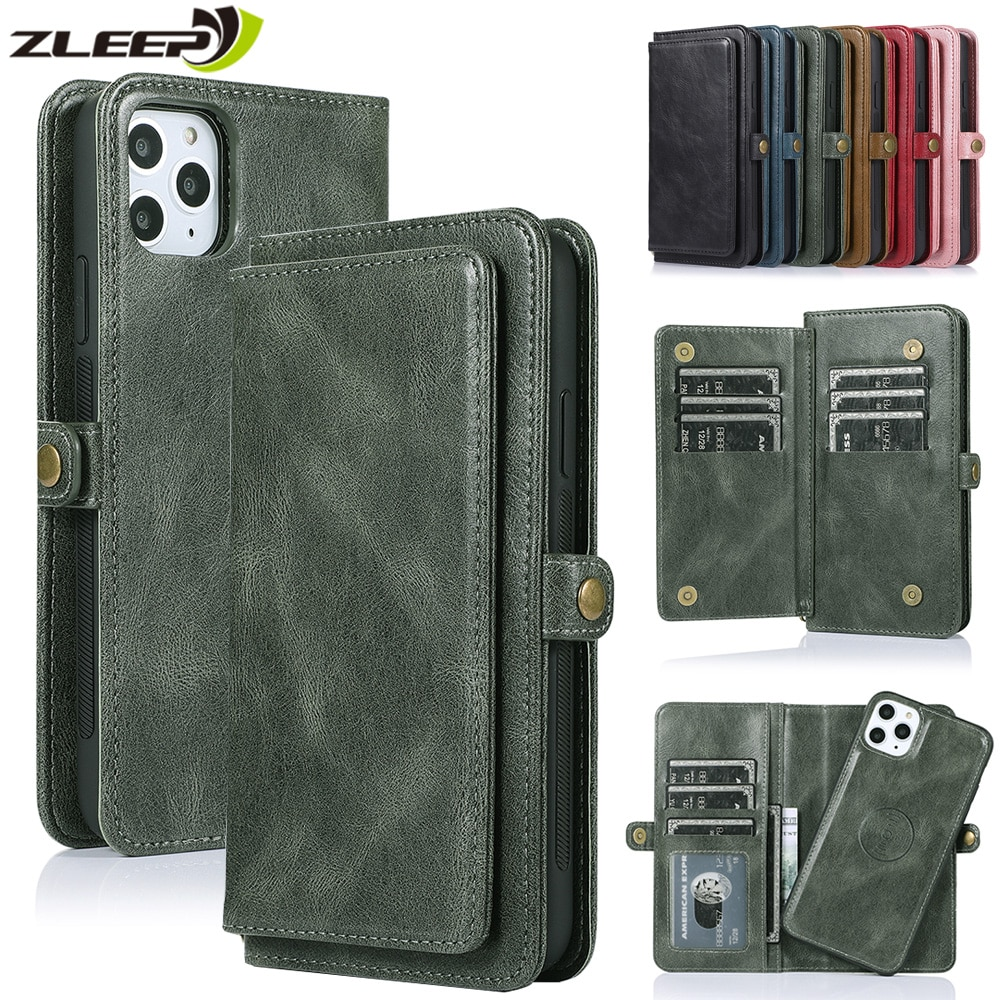 Flip Wallet Case For iPhone 12 Mini 11 Pro Max Leather Cover For iPhone SE 2020 XS XR X 6 6s 7 8 Plus Cards Holder Phone Coque