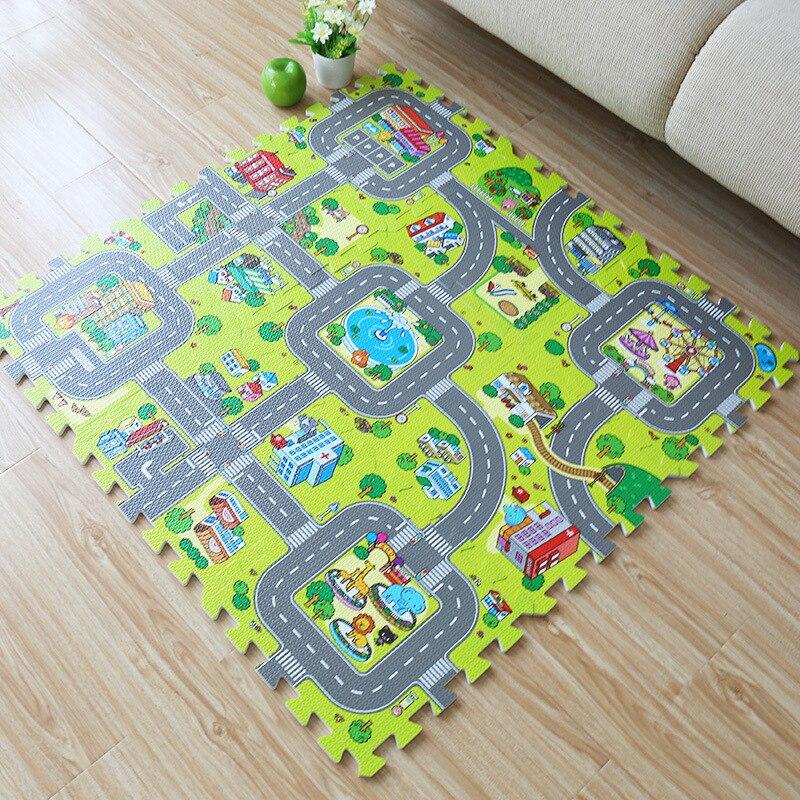 9 قطعة رغوة حصيرة الطفل إيفا لغز اللعب الطابق حصيرة لينة مدينة الطريق التعليم المتشابكة بلاط المرور الطريق الأرض سادة (لا حافة)