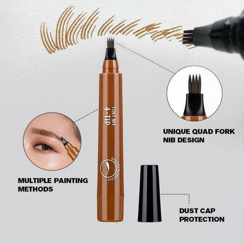 Lápiz de cejas LDO99 de larga duración con punta de horquilla impermeable y 4 puntos a prueba de sudor