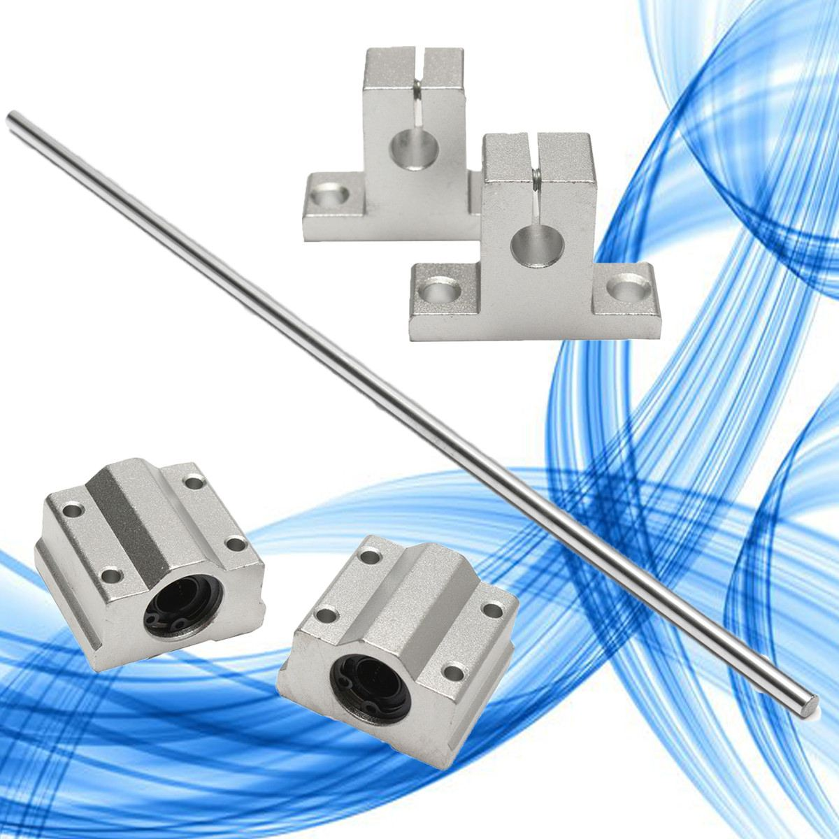 1Pcs Stainless Steel 8x500mm Linear Shaft Optical Axis Silver + 2pcs Aluminum Rail Shaft Support + 2pcs Linear Slide Block