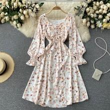 Yitimoky Boho Floral Print High Waist Midi Dresses Women 2021 Bow Lace Up Folds Puff Sleeve Square C