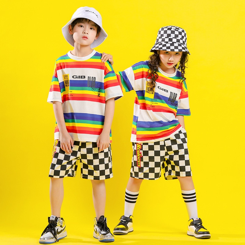 Moda Para Niño de Hip hop camiseta de raya grande abrigo de...