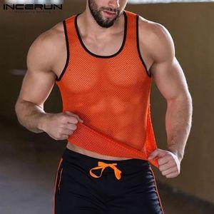 Men Tank Tops Patchwork O Neck Sleeveless 2021 Mesh See Through Vests Fitness Streetwear Summer Bodybuilding Tops INCERUN S-5XL