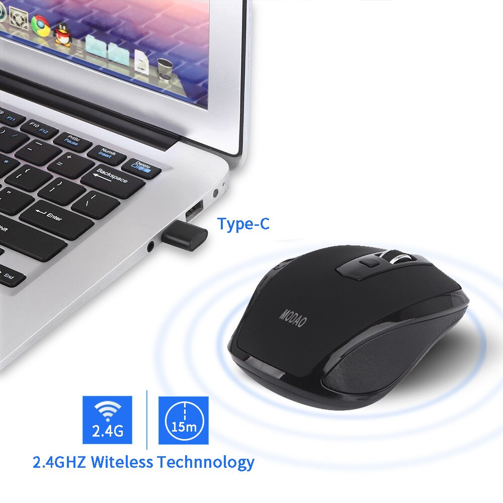 MODAO 2,4 GHZ, ratón inalámbrico tipo C, ratón USB C para Macbook/ Pro, dispositivos USB C, 1600DPI, Windows 2000/ 2003/ ME/ XP, MAC OS/ Linux
