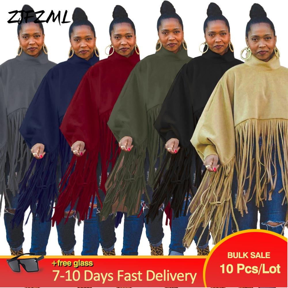Bulk Items Wholesale Lots Women's Tassel Stitching Loose Tops Autumn Winter Turtleneck Full Lantern Sleeve Top Streetwear Outfit