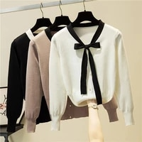 ljsxls white button women clothes bow v neck knitted sweater female 2021 autumn fashion pullovers womens long sleeve pull femme