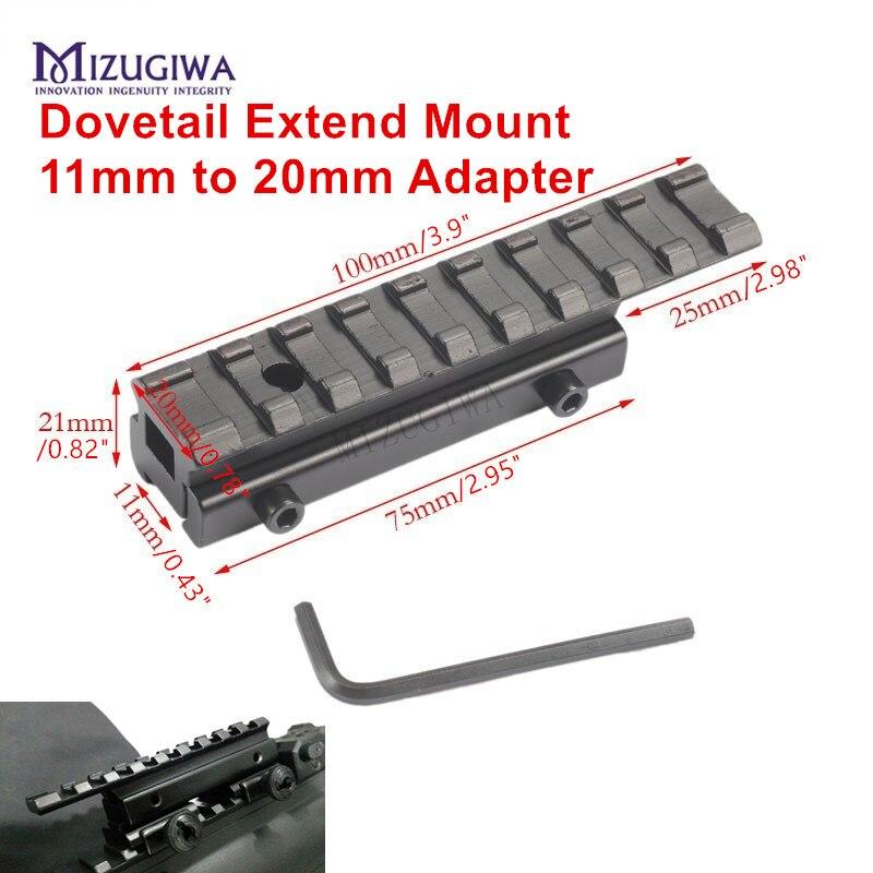 Оптический ласточкин хвост Расширение крепление 22 арбалет Вивер Пикатинни адаптер 11 мм до 20 мм адаптер Riser винтовка пистолет страйкбол