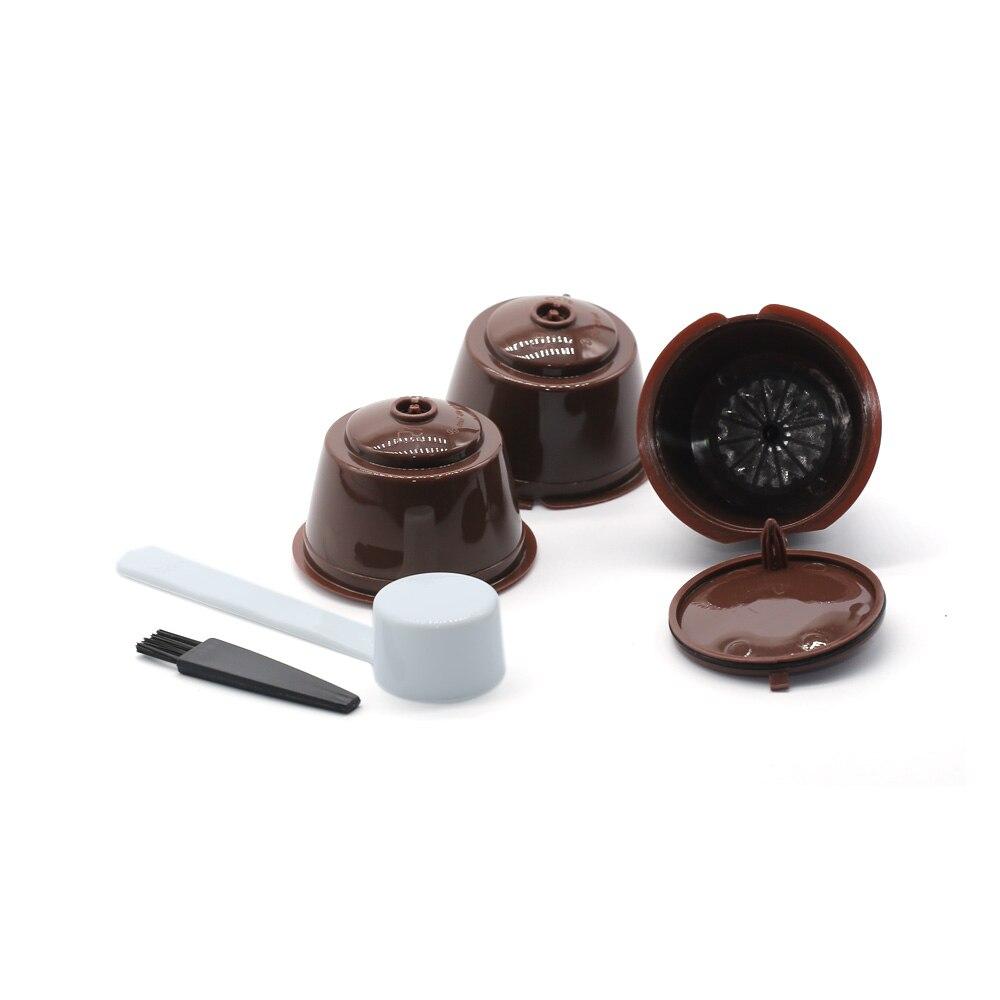 3 Pcs Reusable Kaffee Kapsel Filter Tasse für Nescafe Dolce Gusto Filter Körbe Pod Weichen Geschmack Nachfüllbare Kapsel Löffel Pinsel