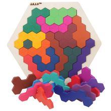 Puzles de madera para niños, juguete, tangramas hexagonales coloridos, juego IQ, juguete educativo para niños, regalo