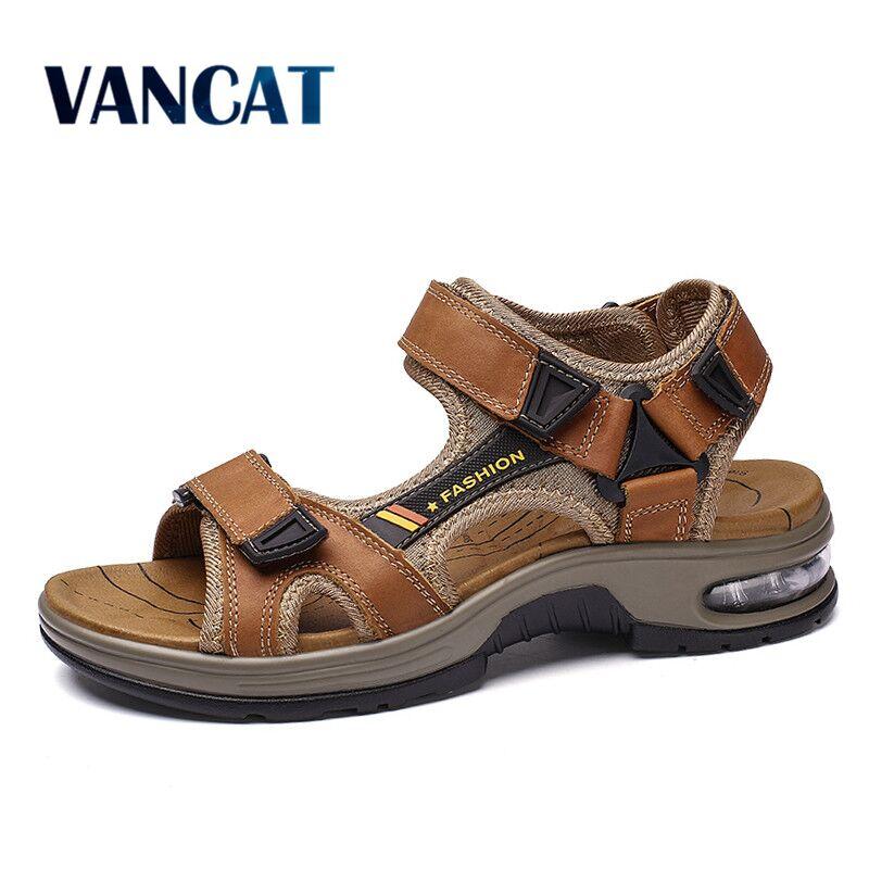 صندل صيفي من الجلد الطبيعي للرجال ، حذاء ناعم ومريح للشاطئ ، نمط المصارع ، للخوض في الهواء الطلق ، 38-48