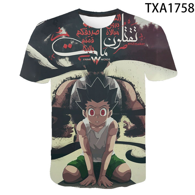 Novedad de 2020, top de cuello redondo para hombre y mujer, camiseta de verano con estampado de hunter3d de hunter x, ropa infantil bonita, bonita camiseta de anime