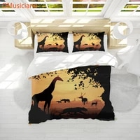 omusiciano 3d digital print custom bedding set%ef%bc%8cduvet cover set fullafrican savannah at dusk cartoon pattern bedding set 3pcs