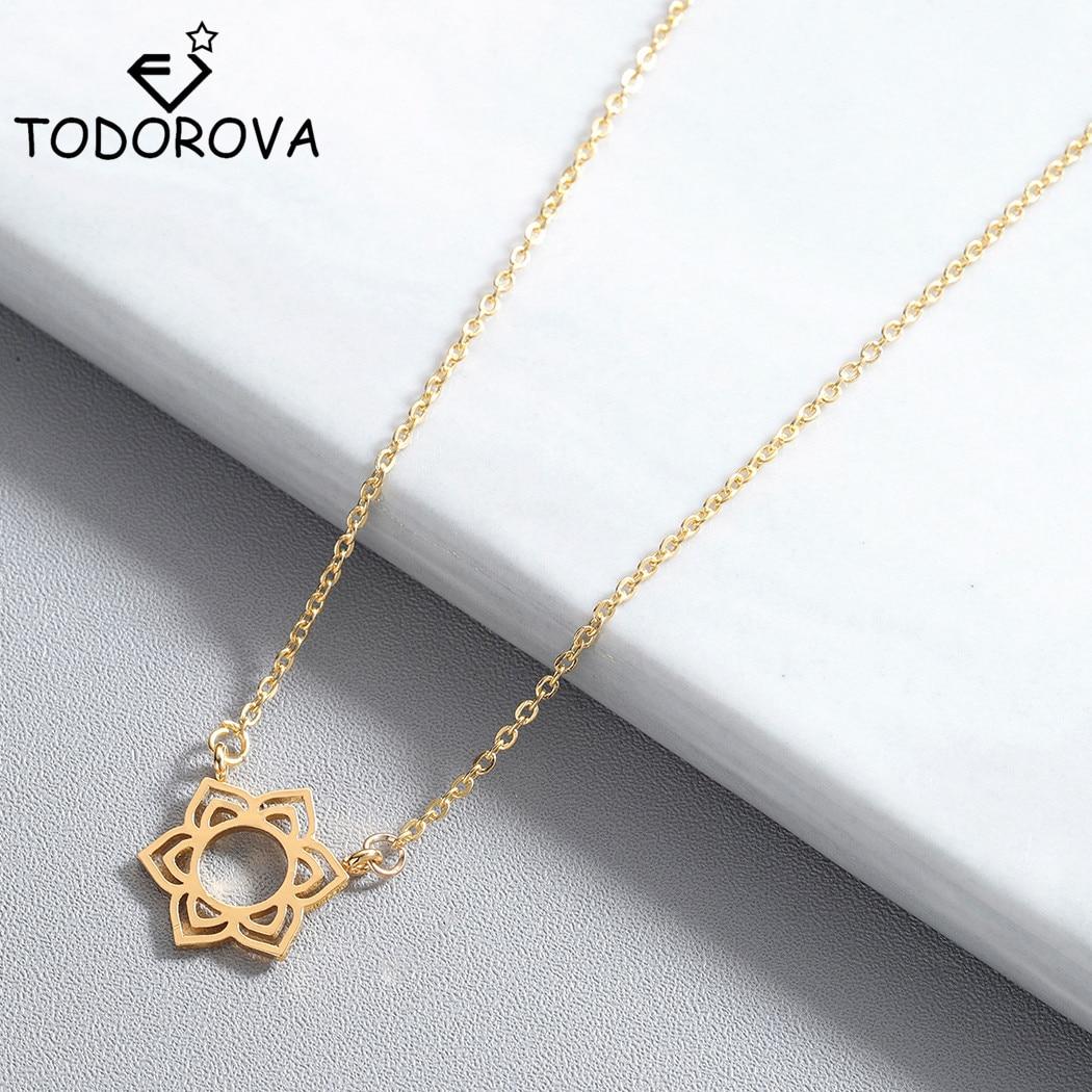 Collar de flores de acero inoxidable Todorova, joyería a la moda, collar circular de oro rosa, regalos para mujeres, Gargantilla, collar de cadena larga