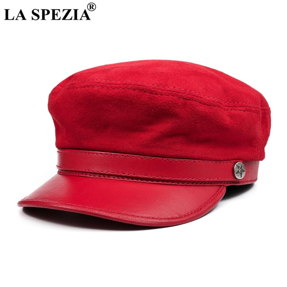 لا سبيتسيا Fiddler قبعة النساء الرجال الأحمر موزع الصحف قبعة جلد طبيعي البريطانية ريترو العلامة التجارية السيدات بيكر بوي قبعة