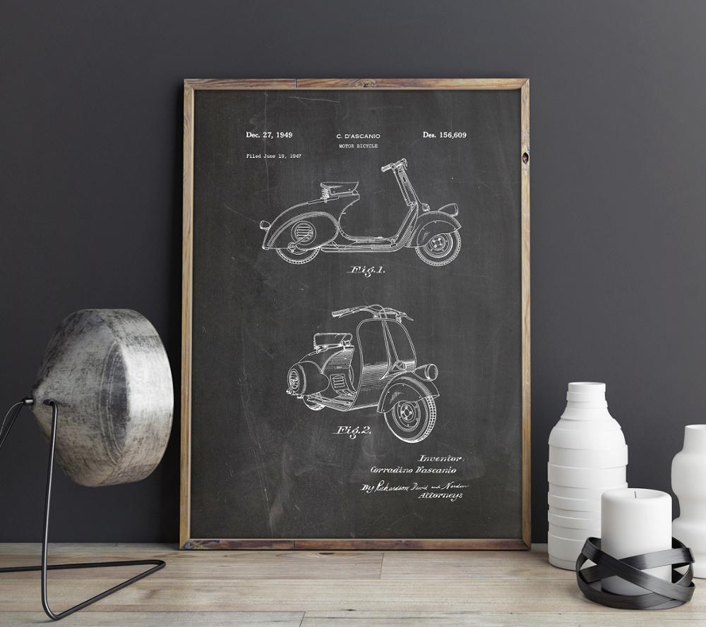 Vespa Scooter Motorcycle patent,1949 Motorbike  artwork , wall art , poster, room decor, print,blueprint,wall Decorations
