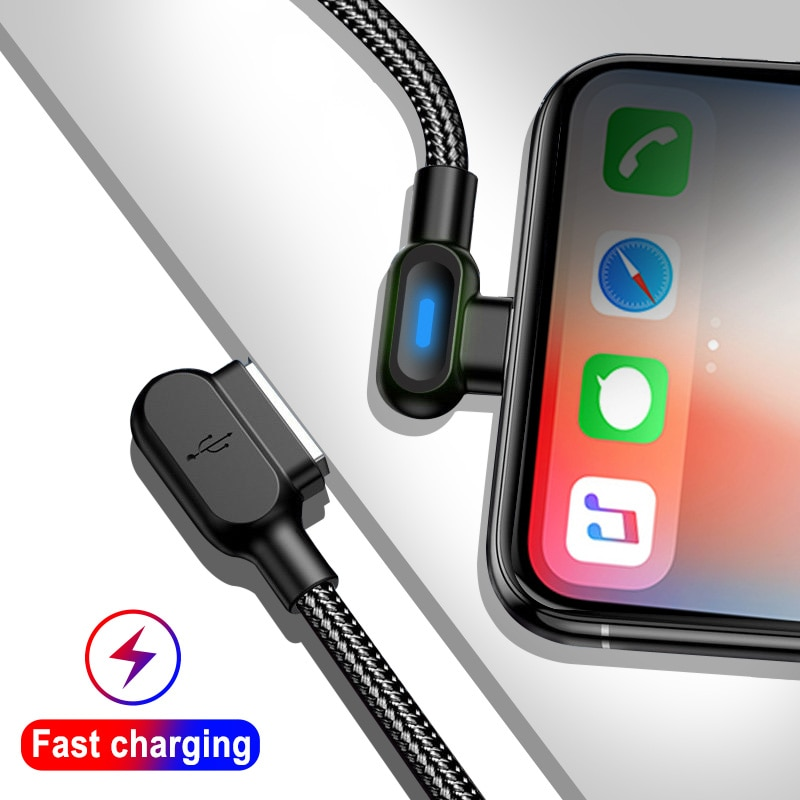 Cable Micro USB tipo C con luz LED, 90 grados, 0,5 M,...