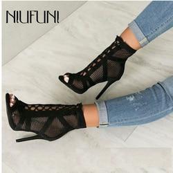 Preto peep toe tornozelo cinta sandálias botas stiletto salto alto malha feminina oco mulher cruz-amarrado gladiadores sapatos sexy sandália