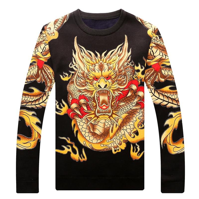 Мужской зимний вязаный пуловер, свитер с принтом дракона 2021, Новое поступление, бархатный утепленный мужской свитер, Подростковый китайски...