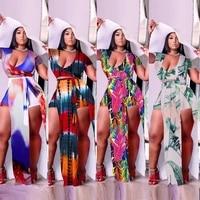 women plus size 2xl 5xl sexy clubwear two pieces 2021 summer deep v neck crop tops high waist lace up split skirts sets