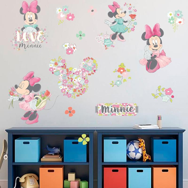 Disney encantador Disney Minie Mouse con Pared de flores pegatinas para las niñas habitación decoración fiesta cartel de pared Mural de la pared calcomanías artística para el hogar