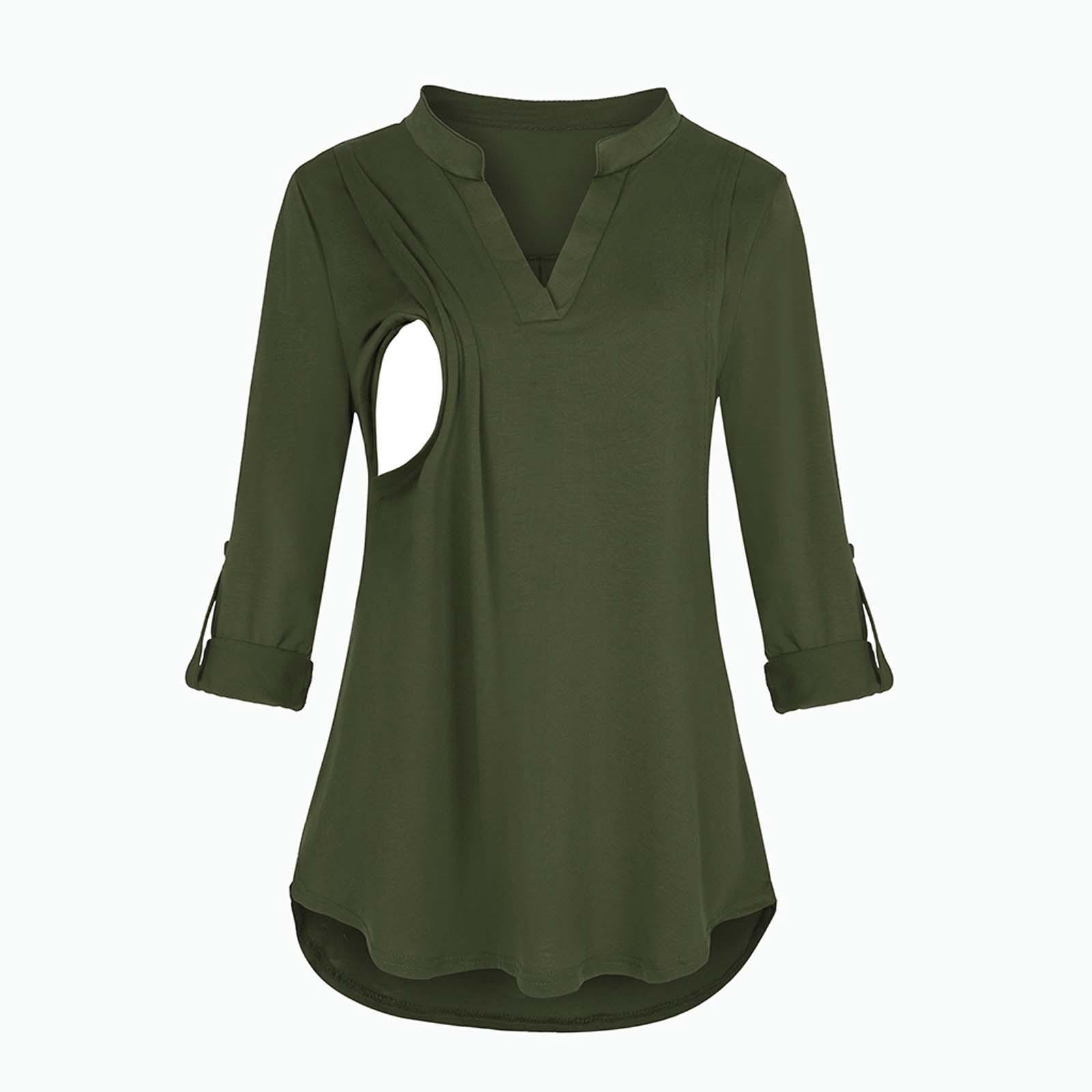 Maternity Fashion Polyester T-Shirt V-Neck Solid Color Long Sleeve Nursing Wear Nursing Maternity Wear VêTements Grossesse éTé