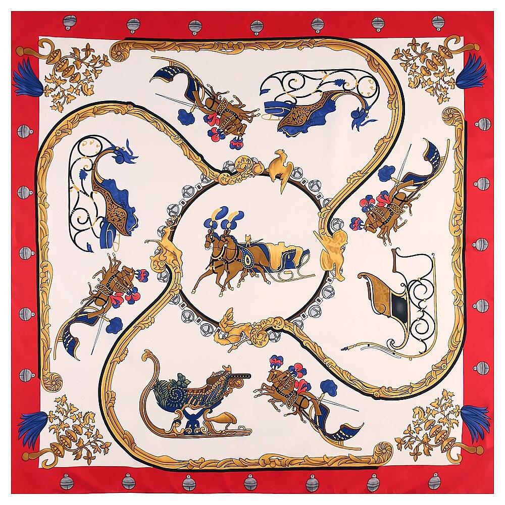 Summer thin silk scarf 130x130cm royal war horse fashion ladies luxury clothing with sunscreen shawl big square scarf