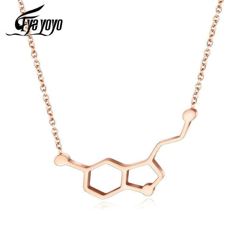 EyeYoYo dopamina molekuła naszyjnik dla kobiet formuła miłości łańcuch naszyjnik ślubny