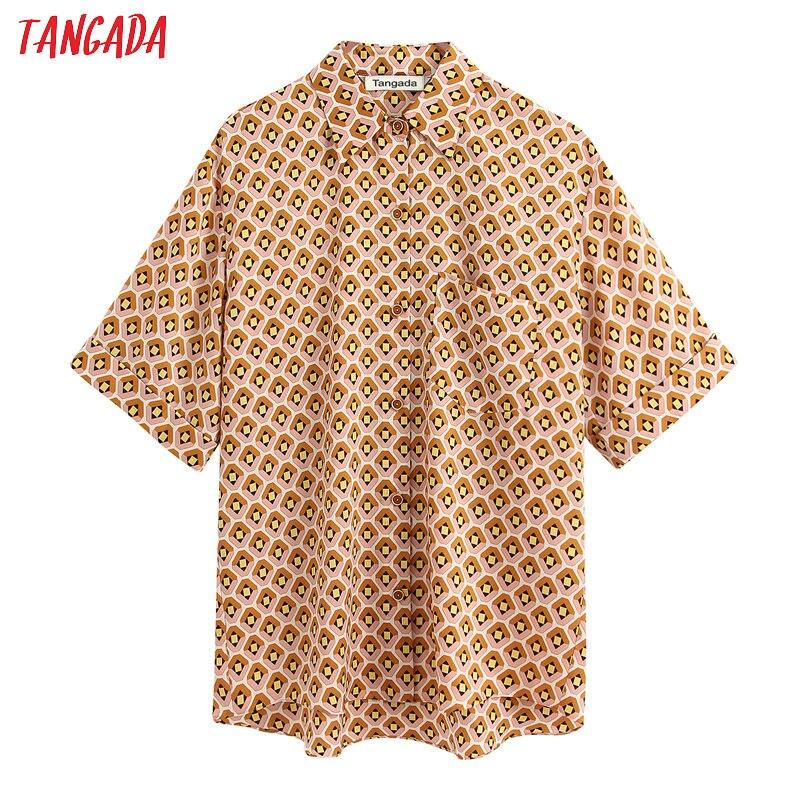 Tangada las mujeres de gran tamaño impresión geométrica manga corta blusa de mujer chic casual Camisa BE336