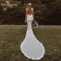 boho wedding dresses mermaid 2021 bride dress with slit backless soft lace sexy bohemian bridal gowns vestido de noiva