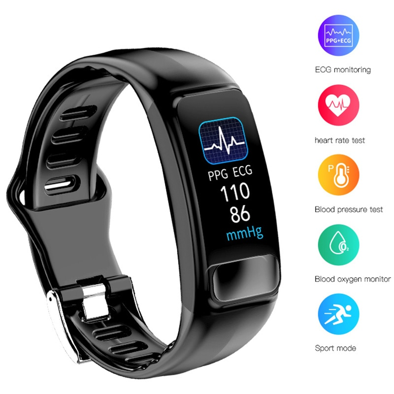 ECG + PPG Smart Watch P12 Sports Bluetooth Wrist band Heart Rate Monitoring Message Call Remind Sport Mode Smart Bracelet