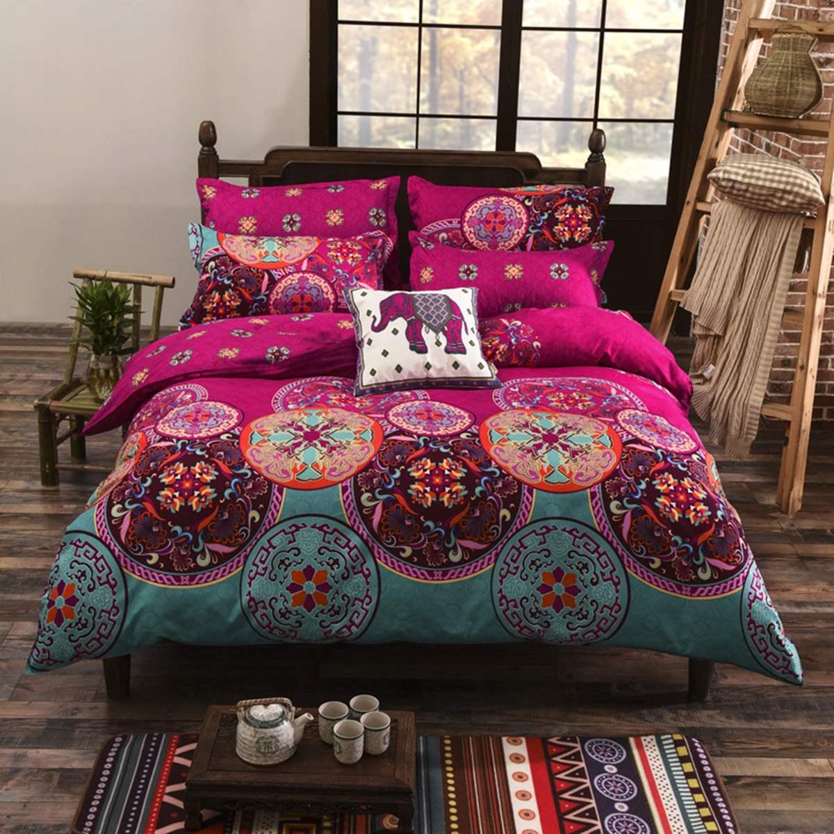 4Pcs 1.5M/2M Bohemian 3D Comforters Bedding Set Mandala Duvet Cover Quilt Cover Bed Sheets with Pillow Case
