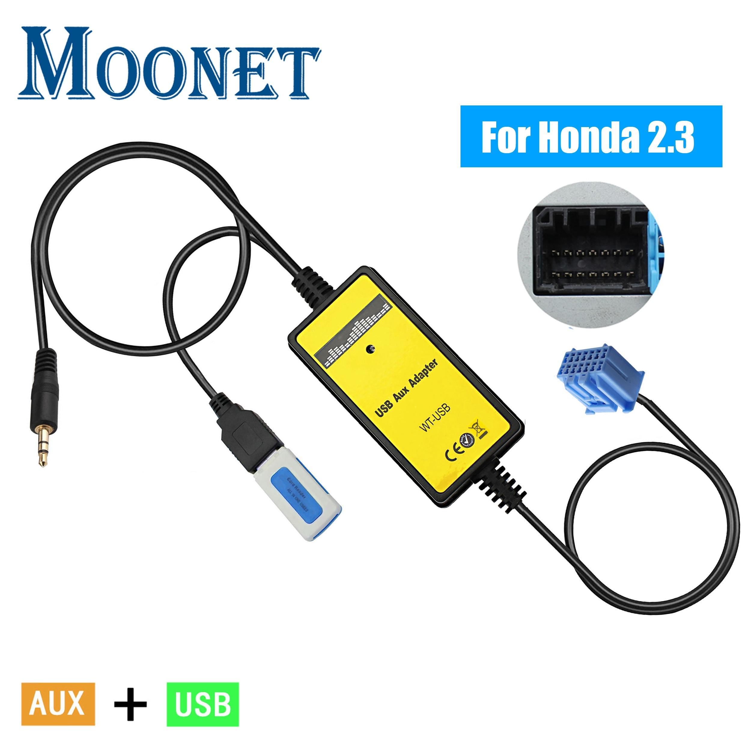 Moonet Car Audio MP3 AUX USB Adapter 3.5mm AUX Interface CD changer For Honda 2.3 Accord Odyssey CRV Pilot S2000 QX006