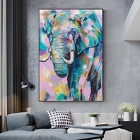 african wild elephant colorful graffiti art posters and prints animals painting wall art for living room home decor no frame