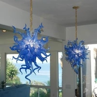 free shipping small blue colored pendant lamp decorative art glass chain led hanging lighting fixture