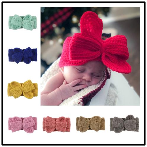 Повязка на голову с большим грязным бантиком для новорожденных, шерстяная вязаная детская повязка для волос для девочек, повязка на голову ...
