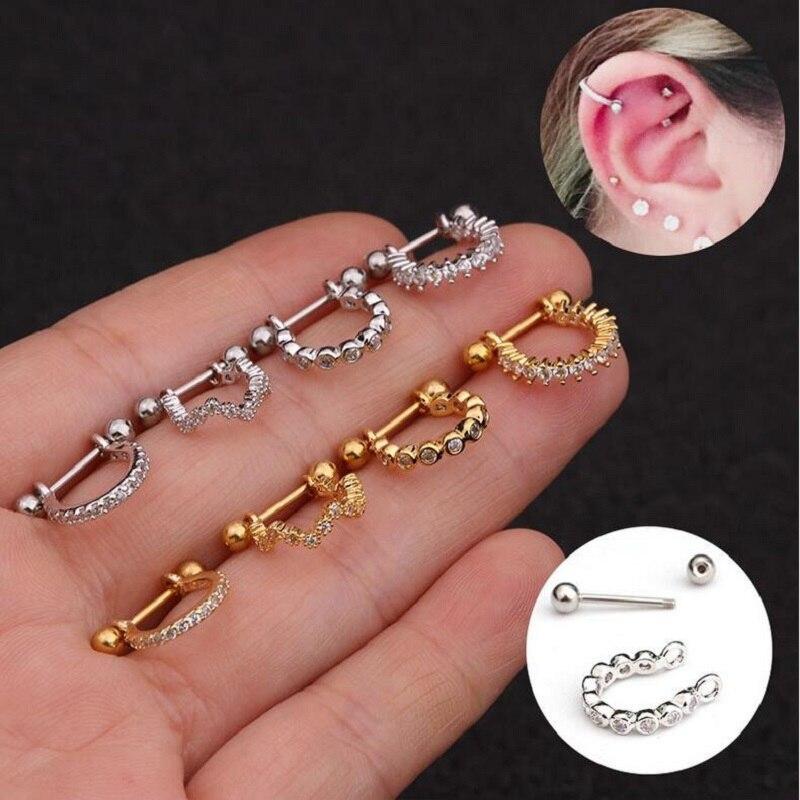 1 mancuerna de acero inoxidable con circonita aro cartílago hélice pendiente de lóbulo oreja Piercing joyería