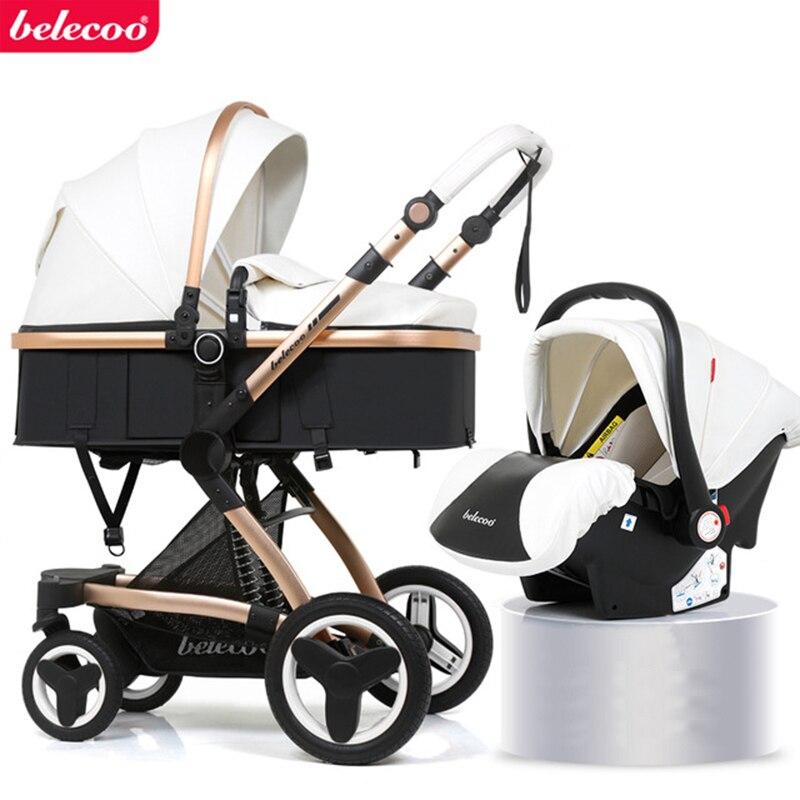 Cochecito de bebé 2 en 1/ 3 en 1 de Belecoo, reposabrazos de paisaje alto, amortiguador de cuero ecológico, carrito de cuatro ruedas, envío gratis