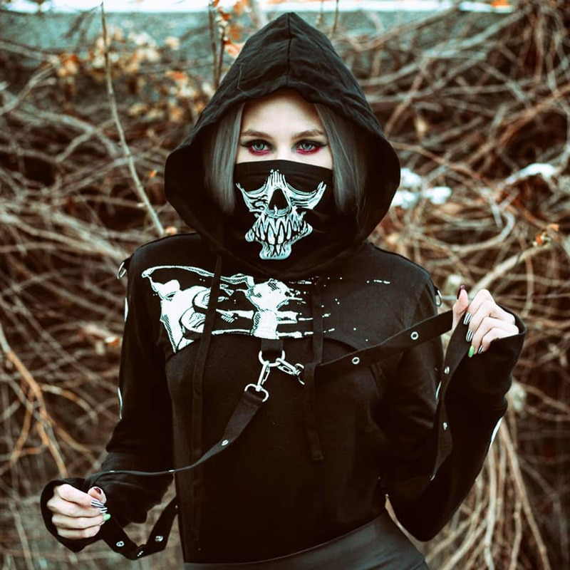Dark Women Hoodie Gothic Punk Sexy Hoolow Out Strapped Skeleton Print Mask Fashion Streetwear Female Black Hooded Cropped Top
