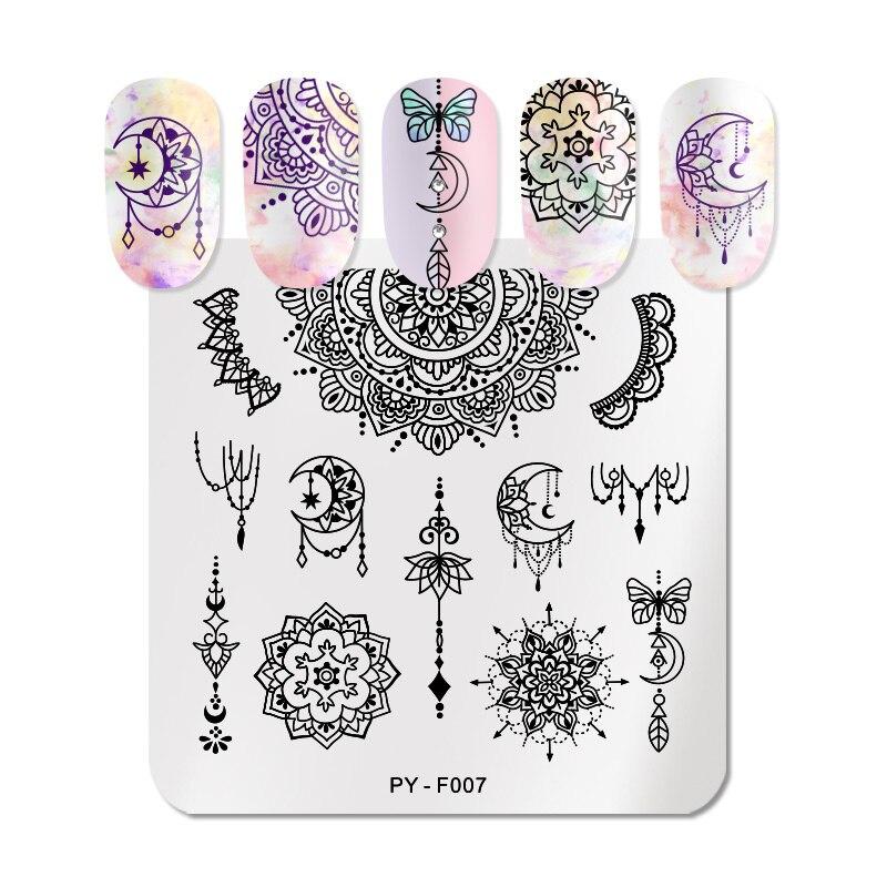 Placas de estampado de uñas PICT YOU serie de mandala, rejilla geométrica, arte de uñas, flores, estampado, plantillas de imagen, herramientas de plantilla de placa de sello