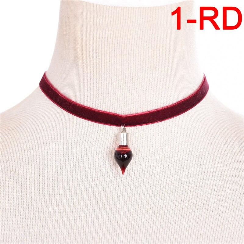 1pc Vintage Vampire Diaries Anhänger Black Lace Choker Halskette Blood sucker Leech Blut Glas Flaschen Halsketten Halloween Geschenke
