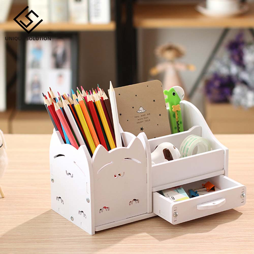 Multi-function 4 Grid Desktop Pen Holder Office School Stationery Storage Case Wood Box Desk Pen Pencil Organizer Phone Holder