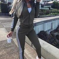 stripe tracksuits 2 set piece set woman tops jacket long pants suits overalls outfit tracksuit sports