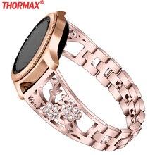 Ремешок из нержавеющей стали для samsung Galaxy Watch, браслет с цветком, 46 мм, 42 мм, gear S3 S2