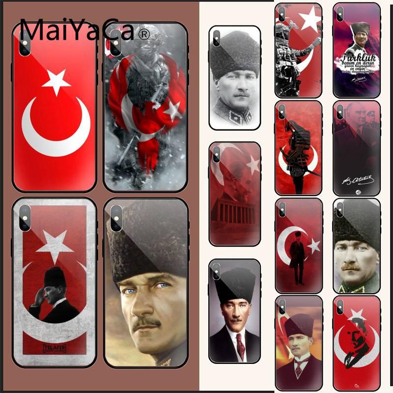 MaiYaCa, Turquía, Mustafa Kemal Ataturk, lujosa funda de teléfono de cristal única para iPhone XR XS MAX X 7 8 6S Plus 11 11Pro 11Pro max